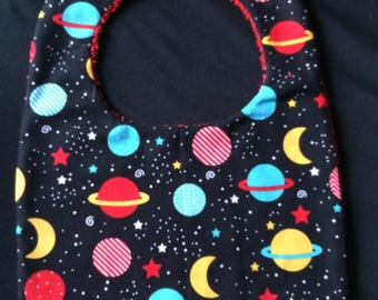 "Bib Terry cloth and cotton ""Space travel"""