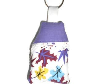 Fabric key chain home leaves and purple