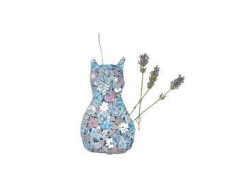 Lavender, light blue cat cushion