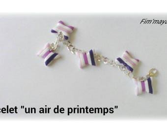 "Bracelet ""spring Butterfly"" in pink, purple and white stripes"