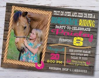 Horseback Riding Photo Invitation-Girls Birthday