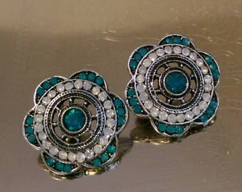 Teal Jewel Flower Earrings