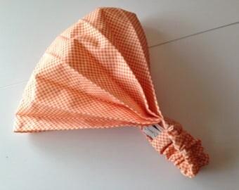 Fichu orange gingham print elastic