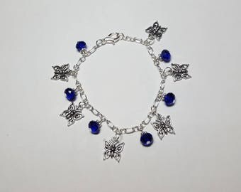 Butterflies and Blue Crystal charm bracelet