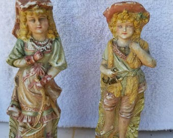 Antique Pastoral Ceramic Figures