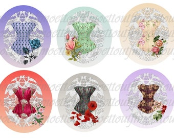 36Image digital cabochon floral corset (send email)