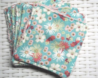 """Square cloth """"Pretty spring flowers"""" cotton and soft pink Terry"""