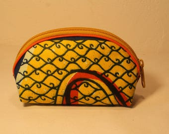Yellow African fabric purse