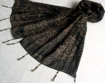 Scarf & pearls REF. 005 *-black and Brown