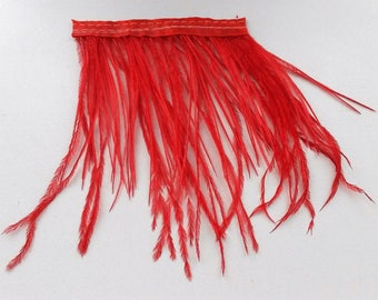 strand of Red ostrich feather band 8cm