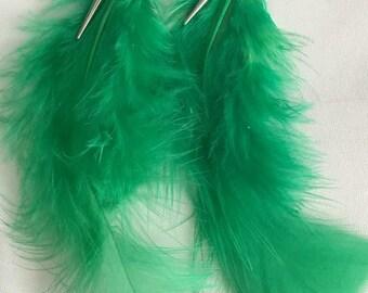 Earrings feather green costume jewelry