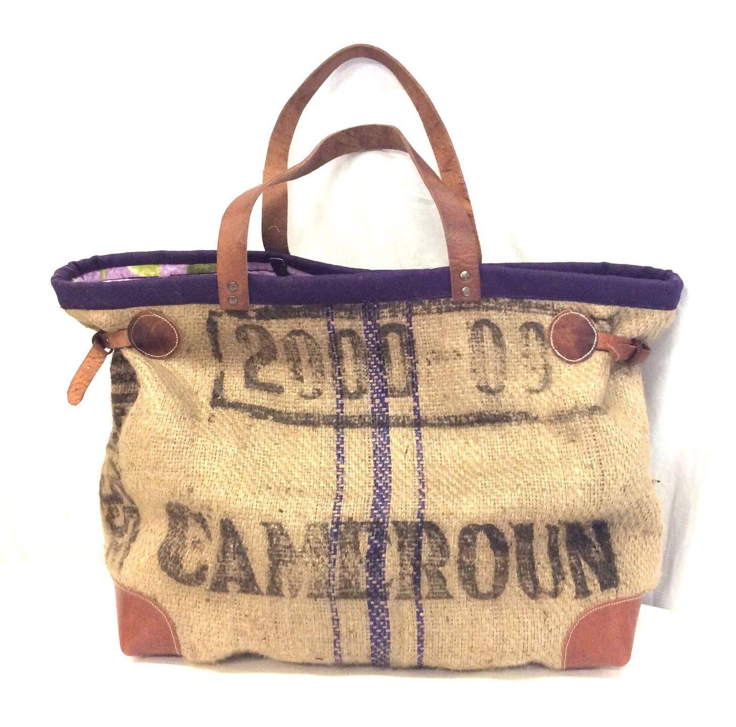 sac cabas toile de jute recycl e violet cuir. Black Bedroom Furniture Sets. Home Design Ideas