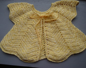Poncho baby newborn to 3 months yellow crochet, cotton jacket