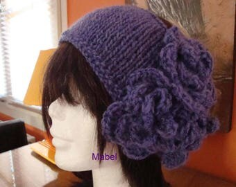 Purple headband for women, handmade knit, soft and warm