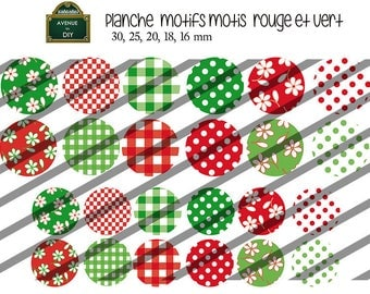 Collage sheet digital pattern dots, squares, red and green flowers for creating 30 mm to 16 mm cabochons