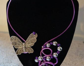 necklace set long fuschia