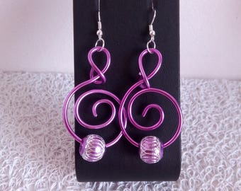 fuchsia aluminum earrings