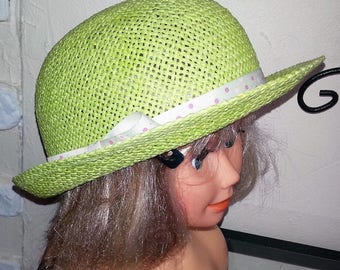 """Lime green paper straw hat """"melon"""""""