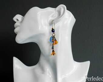 "Earrings long flower lucite ""Armania"" orange and blue tone"