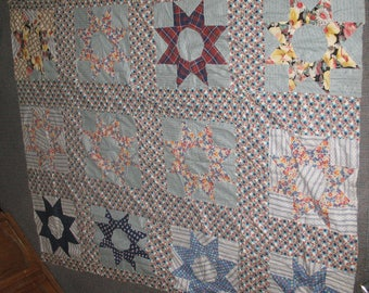 Vintage Star/Flower Pattern Unfinished Tablecloth/Quilt Very Large