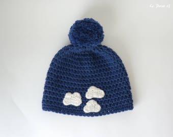 Bonnet Tête dans les nuages pour adulte / chapeau bonnet hiver femme homme crochet nuage bleu blanc pompon accessoire original france unique