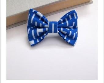 """hair bow """"clip - me"""" tetris blue and white"""