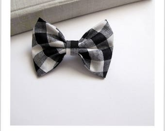"""hair bow """"clip - me"""" black and white gingham"""