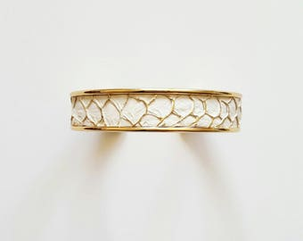 medium white gold leather cuff
