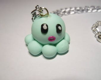 NECKLACE - Octopus kawai Mint polymer