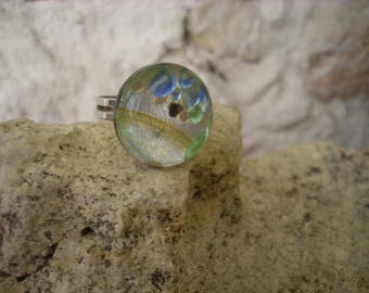 "Ring ""murano style"" Silver highlighted with green and blue"