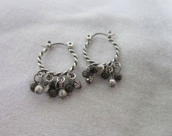 Vintage Sterling Silver Twisted Hoop Dangle Pierced Earrings