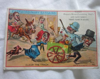 Antique Victorian Trade Card Comical Troy Cash Bazaar