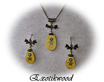 Set necklace + earrings Difou wooden