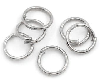 Set of 10 silver matte (18) 6mm jump rings