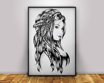Steampunk Girl - Digital Print - Home Decor - Wall Art - Poster - Illustration - Gift
