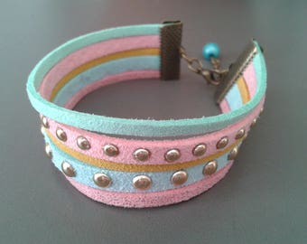 pastel colors for the summer suede Cuff Bracelet