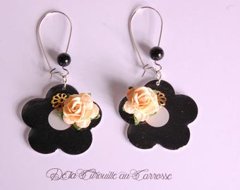 Black and white, pink 3D Flower Earrings