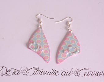 Blue polka dot pink, pastel, heart earrings
