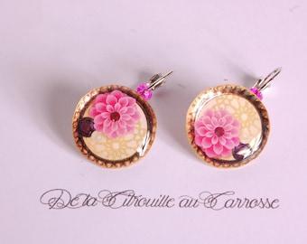Pink flower, gold earrings