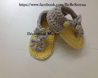 Gray yellow with flower crochet baby sandal