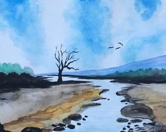 River Landscape, Original Watercolor Painting