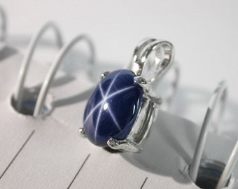 5.48 ct Natural blue star sapphire pendant sterling silver.