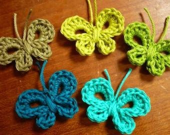 set of 5 butterflies crocheted in green cotton, butterfly applique