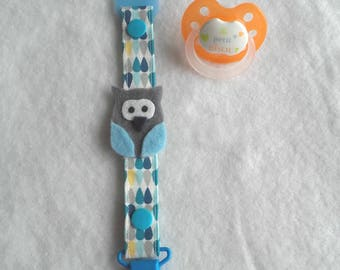 Pacifier holder with its blue and Grey Owl in felt and its adapter to all Pacifiers