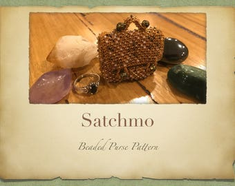 Satchmo Beaded Purse PATTERN ONLY Size 11 Seed Beads Knitted Minature bags for Tooth Fairy Crystals Jewlery or Perfume Pouch