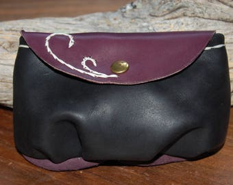 small leather pocket, black and purple