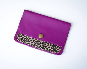 Leather clutch, plum color for car papers
