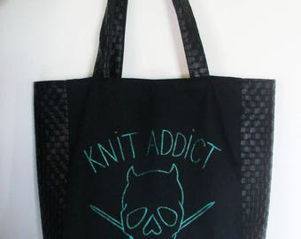 Bag Tote Knit addict green - thick canvas and faux
