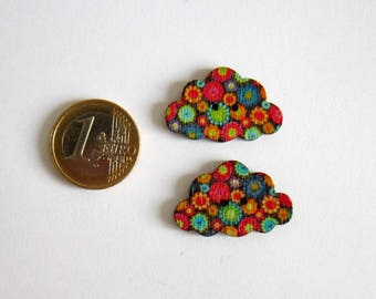 2 flat clouds hippie multicoloured flower pattern 2 holes buttons