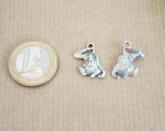 2 metal Gorilla monkey charm silver 18 x 11 mm